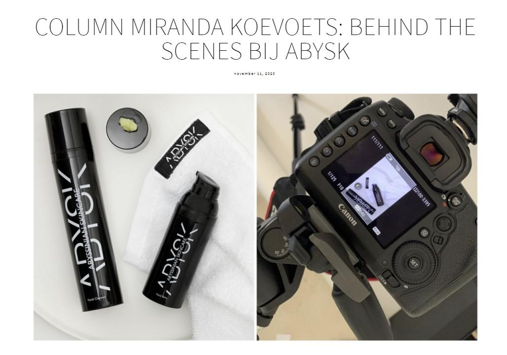 Miranda Koevoets: behind the scenes bij Abysk